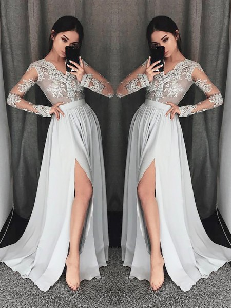 A-Line/Princess Long Sleeves V-neck Sweep Train Grey Chiffon Prom Dresses