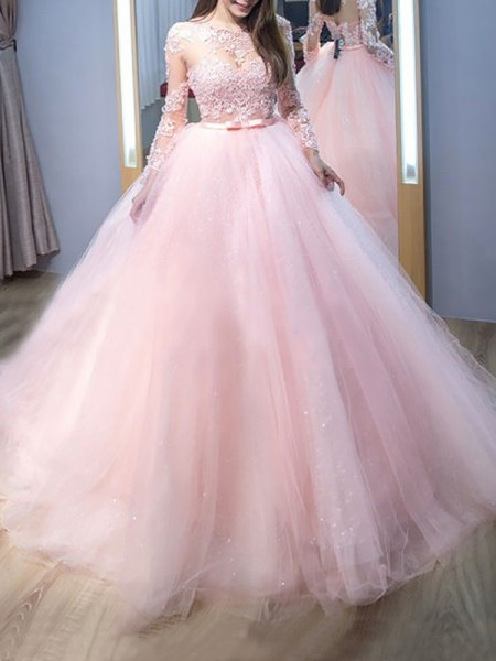 Ball Gown Long Sleeves Jewel Sweep Train Pink Tulle Prom Dresses