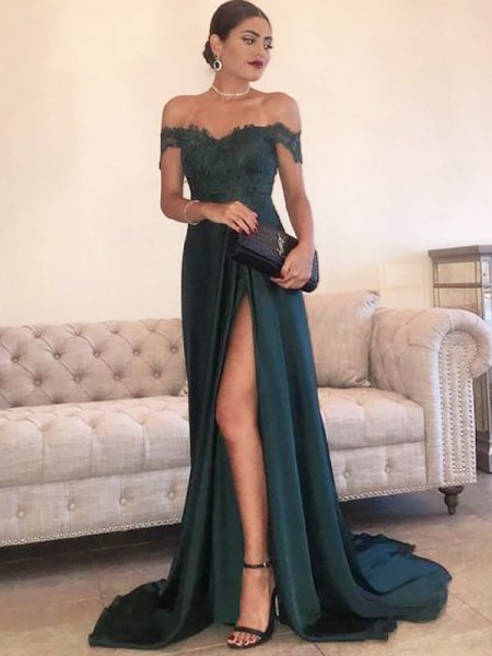 A-Line/Princess Sleeveless Off-the-Shoulder Sweep Train Dark Green Satin Prom Dresses