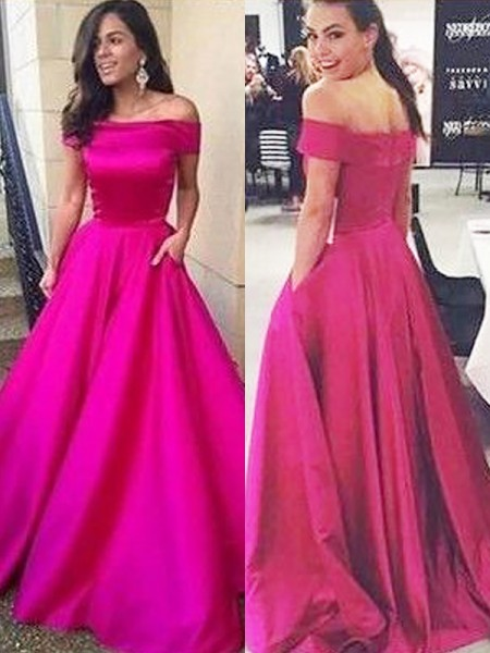 A-Line/Princess Sleeveless Off-the-Shoulder Sweep Train Fuchsia,Daffodil,Black Satin Prom Dresses