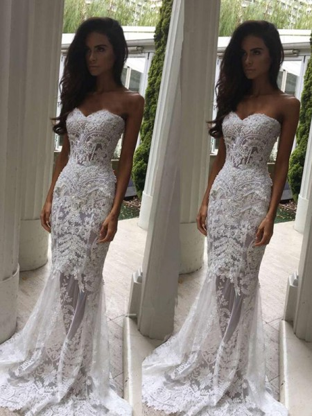 Trumpet/Mermaid Lace Applique Sweetheart Sleeveless Court Train White Wedding Dresses