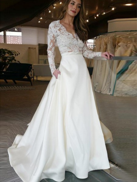 A-Line/Princess Satin Applique V-neck Long Sleeves Sweep/Brush Train Ivory Wedding Dresses