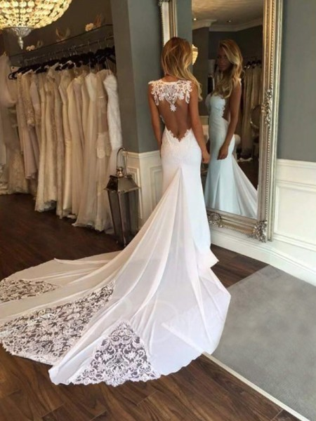 Trumpet/Mermaid Lace Applique Sweetheart Sleeveless Cathedral Train Ivory Wedding Dresses