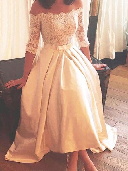 A-Line/Princess Satin Lace Off-the-Shoulder 1/2 Sleeves Asymmetrical Champagne Wedding Dresses