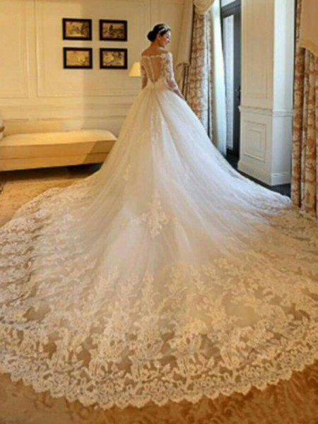 Ball Gown Tulle Beading Off-the-Shoulder 3/4 Sleeves Cathedral Train Ivory Wedding Dresses