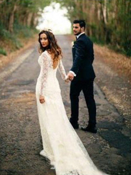 Sheath/Column Lace Applique V-neck Long Sleeves Court Train Ivory Wedding Dresses