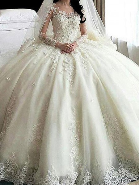 Ball Gown Tulle Applique Scoop Long Sleeves Cathedral Train Ivory Wedding Dresses