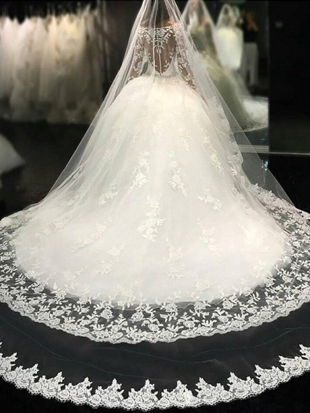 Ball Gown Tulle Lace Scoop Long Sleeves Cathedral Train Ivory Wedding Dresses