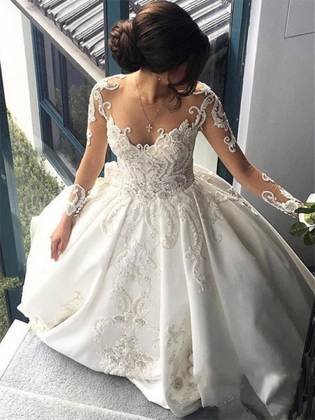 Ball Gown Satin Applique Scoop Long Sleeves Cathedral Train Ivory Wedding Dresses