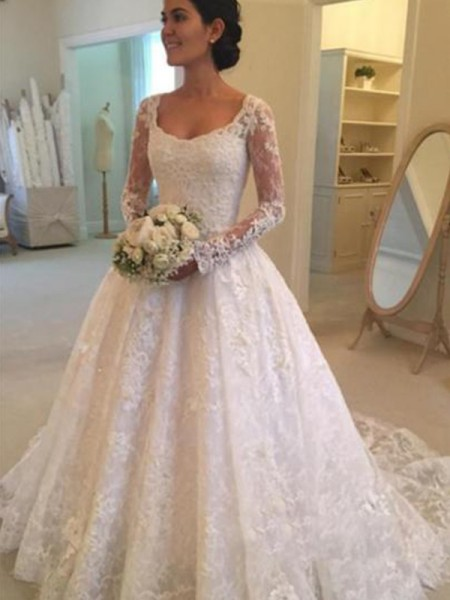 Ball Gown Lace Ruffles Scoop Long Sleeves Cathedral Train Ivory Wedding Dresses