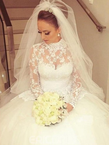 Ball Gown Lace High Neck Long Sleeves Cathedral Train Ivory Wedding Dresses
