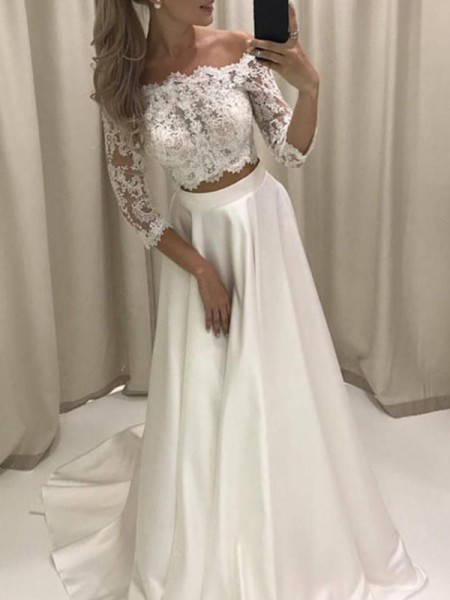 A-Line/Princess Satin Applique Off-the-Shoulder 3/4 Sleeves Court Train Ivory Wedding Dresses
