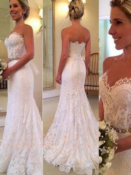 Trumpet/Mermaid Lace Applique Sweetheart Sleeveless Sweep/Brush Train Ivory Wedding Dresses