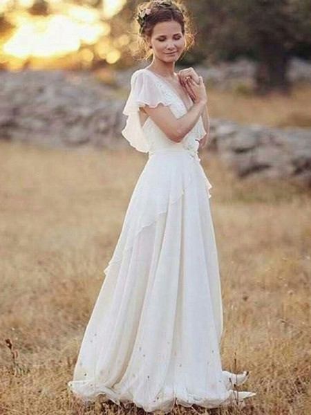 A-Line/Princess Chiffon Ruched V-neck Short Sleeves Floor-Length White Wedding Dresses