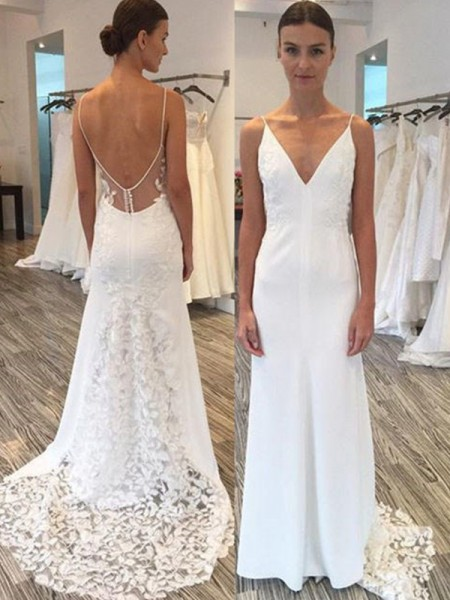 Sheath/Column Satin Lace Spaghetti Straps Sleeveless Sweep/Brush Train White Wedding Dresses