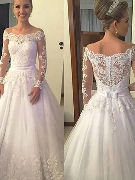 Ball Gown Tulle Applique Off-the-Shoulder Long Sleeves Court Train Ivory Wedding Dresses