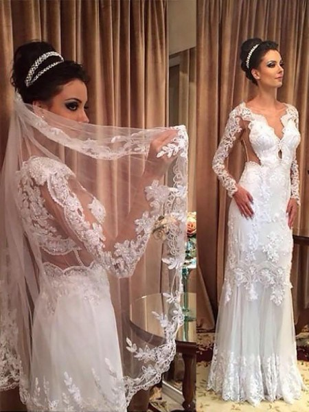 Sheath/Column Tulle Applique V-neck Long Sleeves Sweep/Brush Train Ivory Wedding Dresses