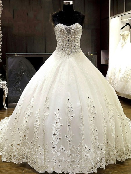 Ball Gown Tulle Rhinestone Sweetheart Sleeveless Cathedral Train Ivory Wedding Dresses