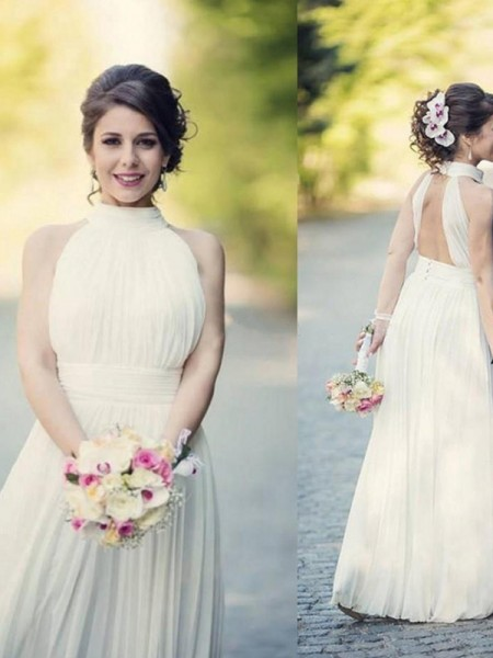 A-Line/Princess Tulle Ruffles Halter Sleeveless Floor-Length White Wedding Dresses