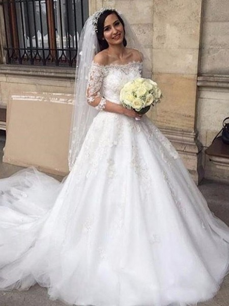 Ball Gown Tulle Applique Off-the-Shoulder 3/4 Sleeves Chapel Train White Wedding Dresses