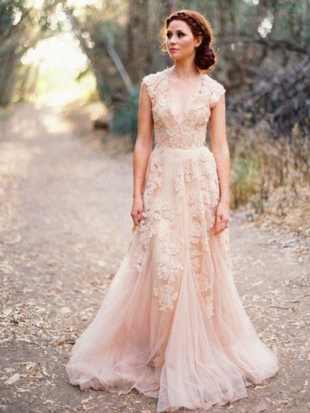 A-Line/Princess Tulle Applique V-neck Sleeveless Sweep/Brush Train Pink Wedding Dresses