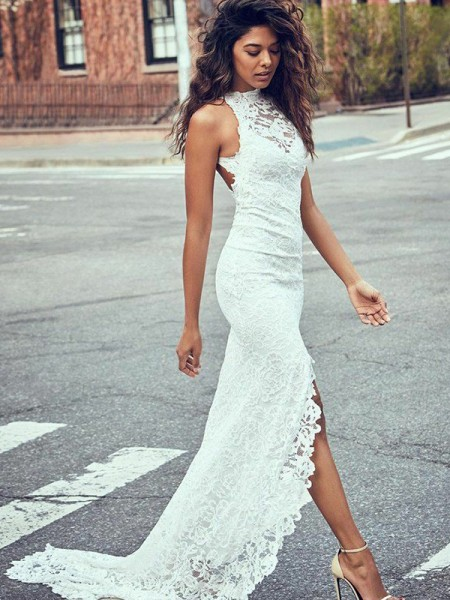 Trumpet/Mermaid Lace Lace Halter Sleeveless Sweep/Brush Train White Wedding Dresses
