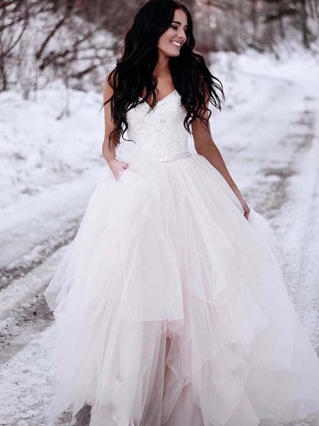 A-Line/Princess Tulle Ruched V-neck Sleeveless Floor-Length White Wedding Dresses