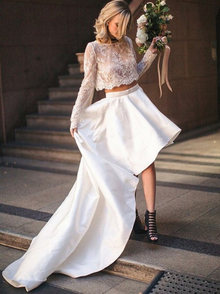 A-Line/Princess Satin Lace Scoop Long Sleeves Sweep/Brush Train Ivory Wedding Dresses
