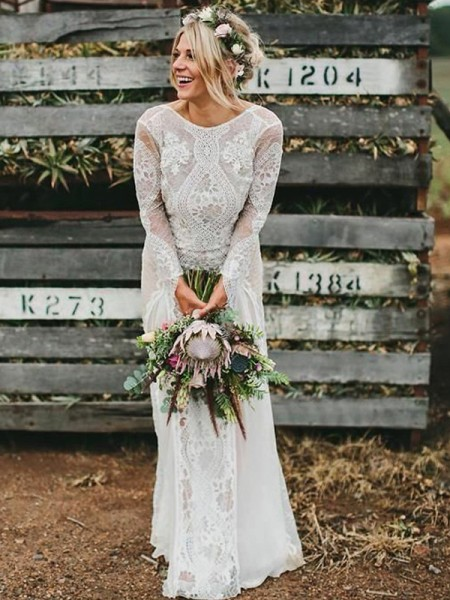 Sheath/Column Lace Ruched Scoop Long Sleeves Floor-Length White Wedding Dresses