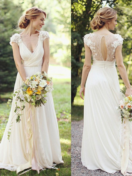 A-Line/Princess Chiffon Ruched V-neck Short Sleeves Sweep/Brush Train Ivory Wedding Dresses