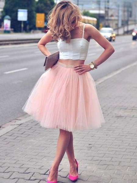 A-Line/Princess Tulle Spaghetti Straps Pleats Sleeveless Knee-Length Two Piece Dresses