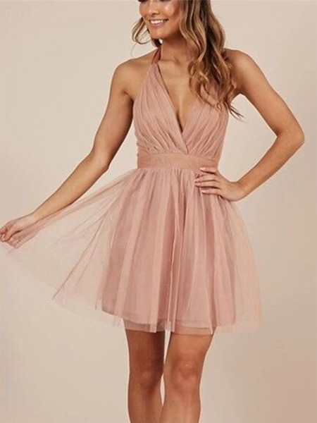A-Line/Princess Halter Tulle Short/Mini Sleeveless Dresses