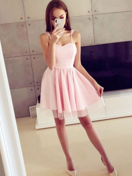 A-Line/Princess Spaghetti Straps Satin Short/Mini Sleeveless Dresses