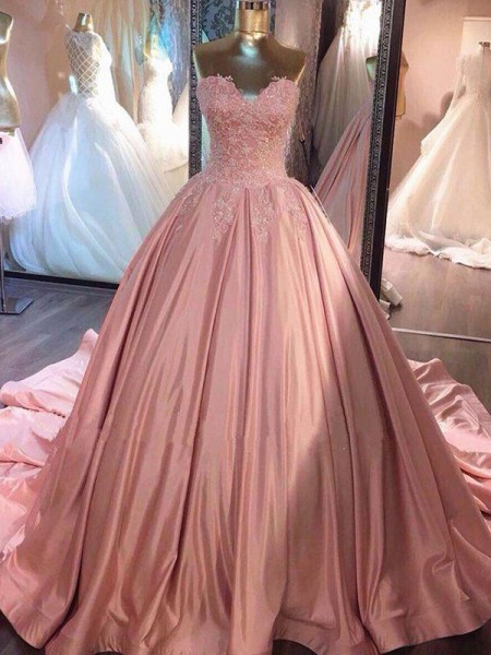 Ball Gown Sweetheart Satin Court Train Sleeveless Dresses
