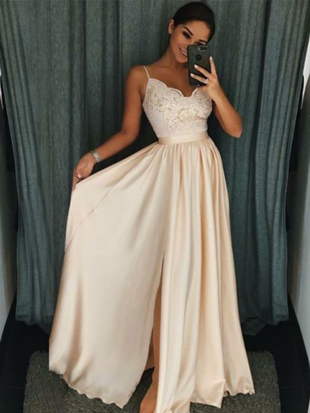 A-Line/Princess Floor-Length Applique Spaghetti Straps Sleeveless Silk like Satin Dresses