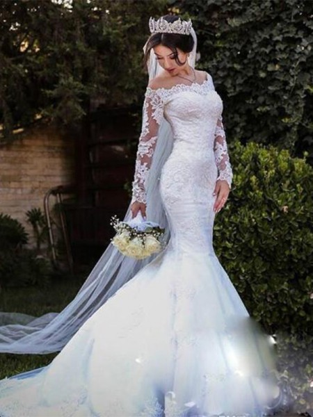 Trumpet/Mermaid Sweep/Brush Train Tulle Off-the-Shoulder Long Sleeves Wedding Dresses