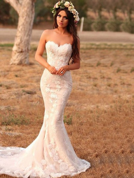 Trumpet/Mermaid Sweep/Brush Train Applique Lace Sweetheart Sleeveless Wedding Dresses