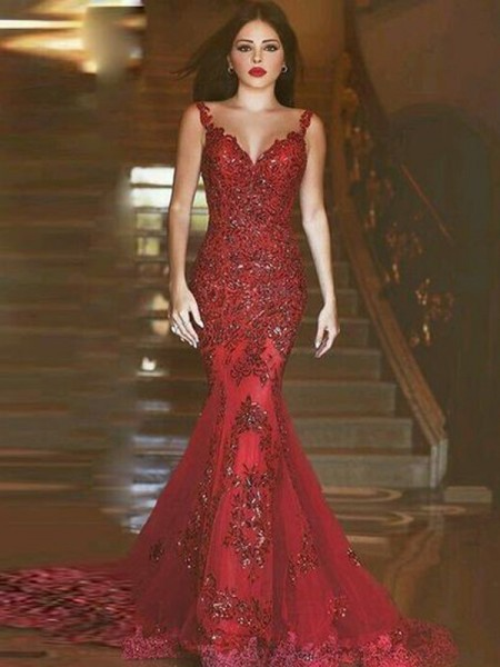 Mermaid Sleeveless V-neck Sweep Train Red Tulle Prom Dresses