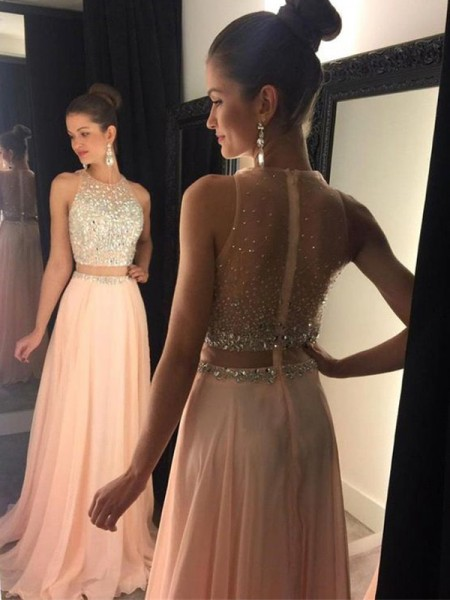 A-Line/Princess Sleeveless Scoop Sweep Train Pink Chiffon Prom Dresses