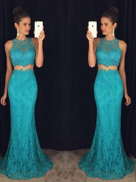 Sheath/Column Sleeveless Scoop Long Green Lace Prom Dresses