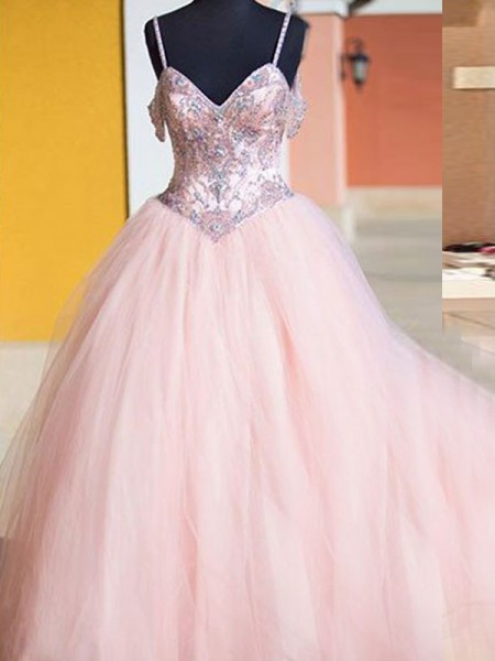 Ball Gown Sleeveless Spaghetti Straps Long Pink Tulle Prom Dresses