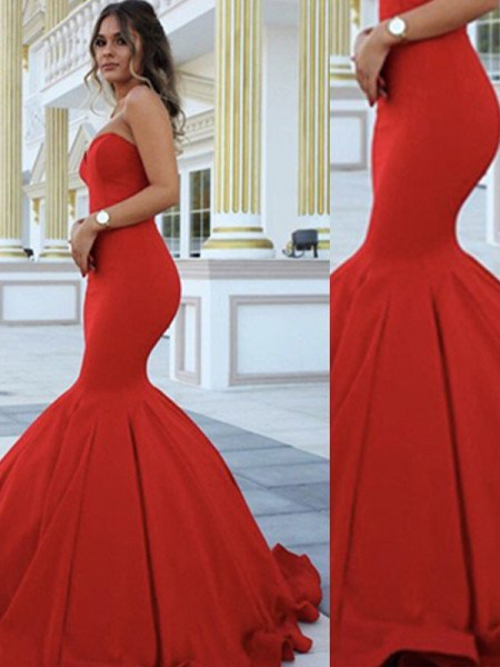 Mermaid Sleeveless Sweetheart Long Red Satin Prom Dresses