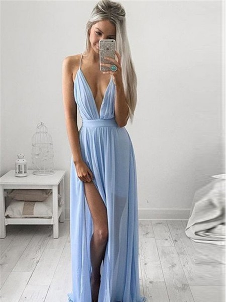 A-Line/Princess Sleeveless Spaghetti Straps Long Light Sky Blue Chiffon Prom Dresses