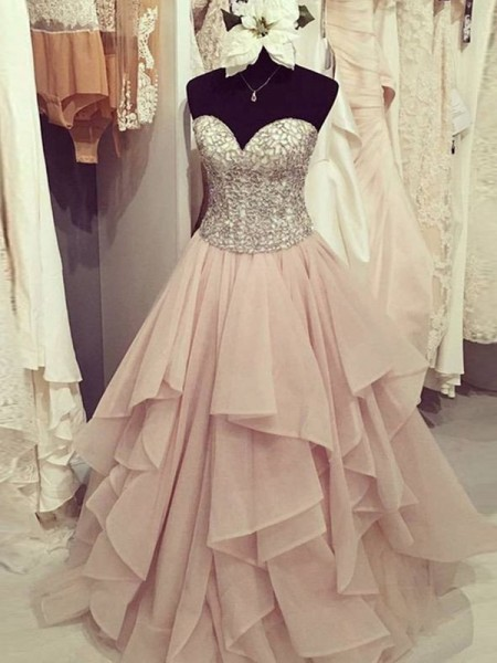 A-Line/Princess Sleeveless Sweetheart Long Pink Chiffon Prom Dresses