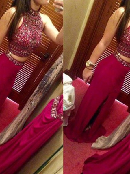 Sheath/Column Sleeveless Jewel Long Red Chiffon Prom Dresses