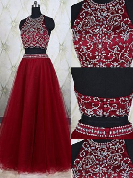 A-Line/Princess Sleeveless Jewel Long Red Tulle Prom Dresses