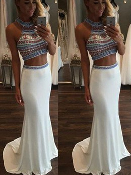 Mermaid Sleeveless Halter Sweep Train White Chiffon Prom Dresses