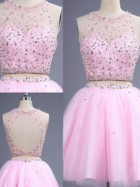 A-Line/Princess Sleeveless Scoop Short Pink Tulle Prom Dresses