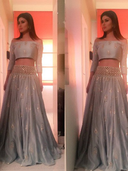 A-Line/Princess 3/4 Sleeves Off-the-Shoulder Long Silver Satin Prom Dresses