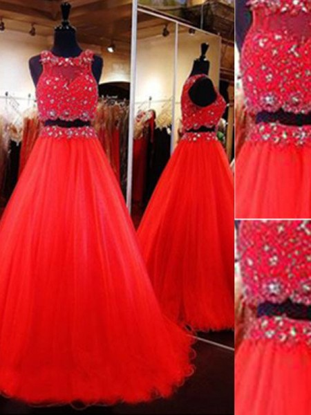 A-Line/Princess Sleeveless Scoop Long Red Tulle Prom Dresses
